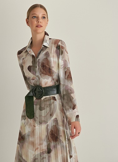 Ng Style Pileli Suluboya Desenli Gömlek Elbise Vizon
